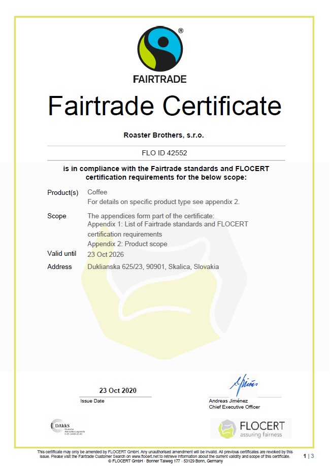Roaster Brothers Fairtrade certifikacia